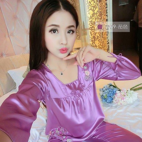 f9155e511f Amazon.com  MH-RITA 2017 New Brand Silk Pajamas Set Women Spring Autumn Long  Sleeve Sleepcoat   Pants Nightwear Set Ladies Satin Sleepwear Plus Size  1009 ...