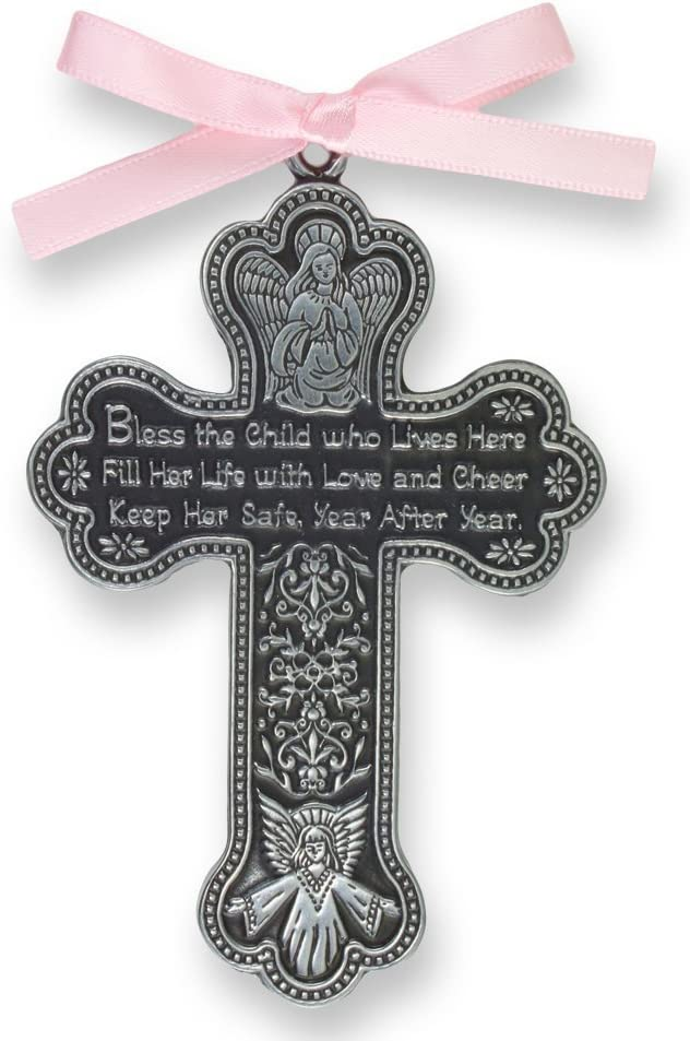 Bless The Child – GUARDIAN ANGEL Baby GIRL Crib Cross 4 PEWTER Medal – CHRISTENING – BABY SHOWER GIFT Baptism KEEPSAKE with PINK RIBBON GIFT BOXED Original Version