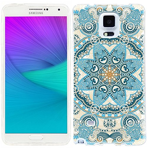 note 4 Case,note4 case,Samsung note 4 Case,Galaxy note 4 Case,ChiChiC full Protective unique Case slim durable Flexible Soft TPU Cases Cover for Samsung Galaxy Note 4 SM-N910S SM-N910C,geometric sky blue navy orange mandala