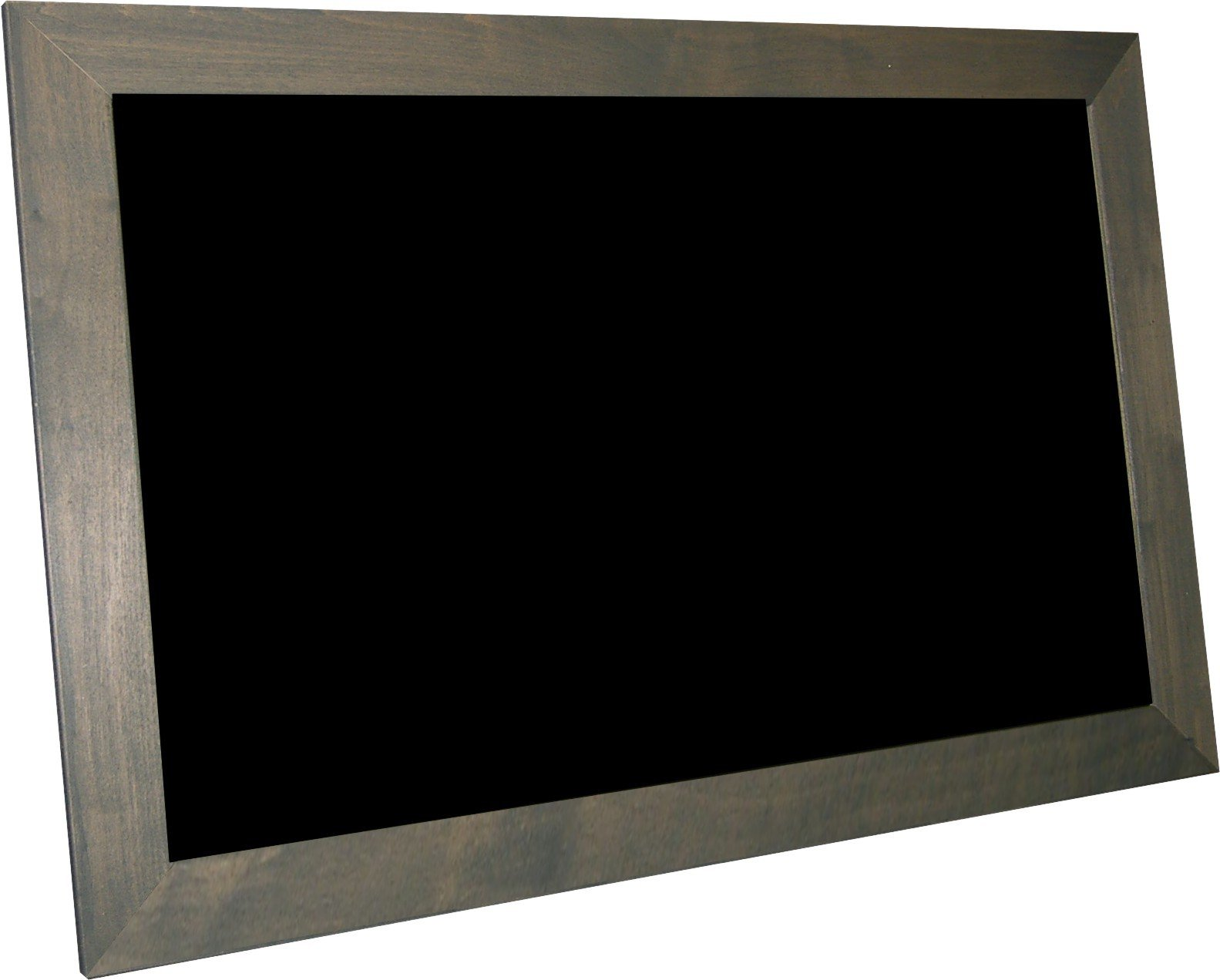 billyBoards 24x36 chalkboard. Grey barnwood frame finish. Restaurant menu style. No chalk tray. Wood composite writing panel- black. 2.5'' wood frame.