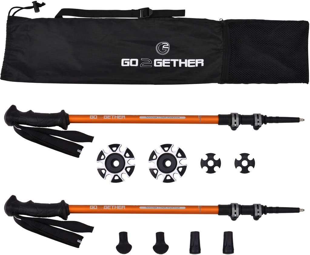 G2 GO2GETHER Hiker Trekking Hiking Poles Telescopic Aluminum Alloy Comfort BMM Handle Auto-Adjustable Strap Quick Flip Lock Snow Baskets Attached Pack of 2 Poles