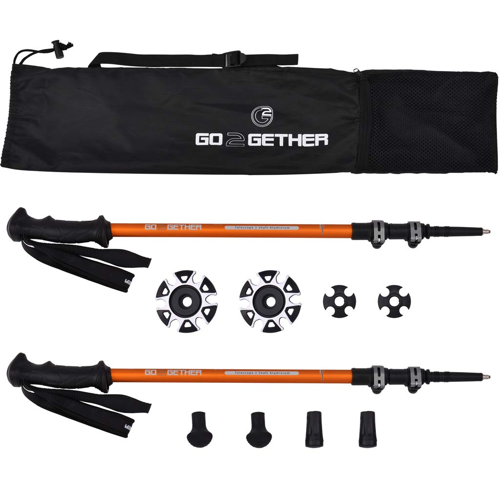G2 GO2GETHER Hiker Trekking Hiking Poles Telescopic/Aluminum Alloy/Comfort BMM Handle/Auto-Adjustable Strap/Quick Flip Lock/Snow Baskets Attached (Pack of 2 Poles)