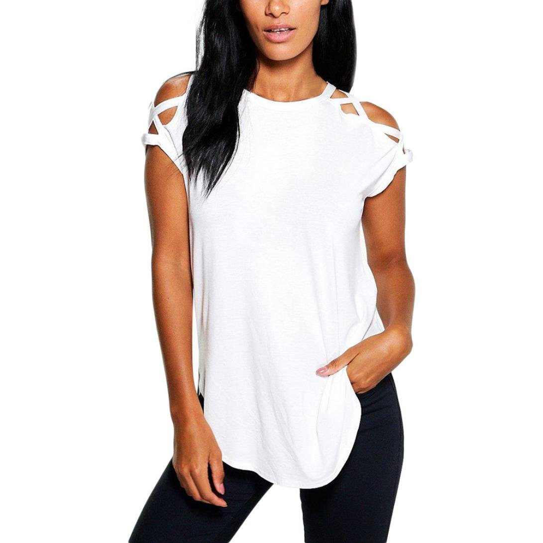 FAPIZI Clearance Women's Short Sleeve T-Shirt Lightning Deals Hollow Casual Tunic Blouse Tops