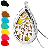 Teardrop Aromatherapy Essential Oil Diffuser Necklace Locket Pendant Stainless Steel with 24 Inches Adjustable Snake Chain and 8 Refill Pads
