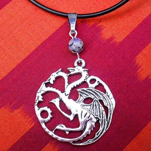 Silver Tone Game Thrones Targaryen Dragons and Sodalite Bead Pendant Necklace,Fantasy Good luck Gift