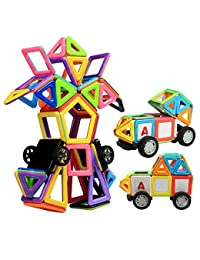 Magnetic Building Blocks, Innoo Tech Magnet Building Tiles Kits, 76+1 Pieces, Big Version, ABS Plastic, Instruction Booklet Included, Construction Stacking Toys, Creative and Educational Gift for Kids BOBEBE Online Baby Store From New York to Miami and Los Angeles