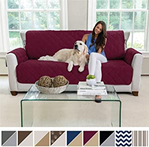 MIGHTY MONKEY Premium Reversible Sofa Slipcover, Seat Width to 70 Inch Furniture Protector, 2 Inch Elastic Strap, Washable Couch Slip Cover, Protect Sofas from Kids, Dogs, Cats, Sofa, Merlot Sand