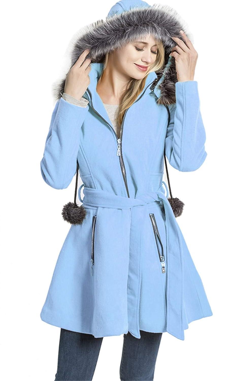 bluee KENGURU COVE Women's Wool Trench Coat Lapel Wrap Swing Winter with Removable Fur Collar Long Overcoat Jacket