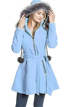 ca9d2d5b81e KENGURU COVE Women s Wool Trench Coat Lapel Wrap Swing Winter with  Removable Fur Collar Long Overcoat