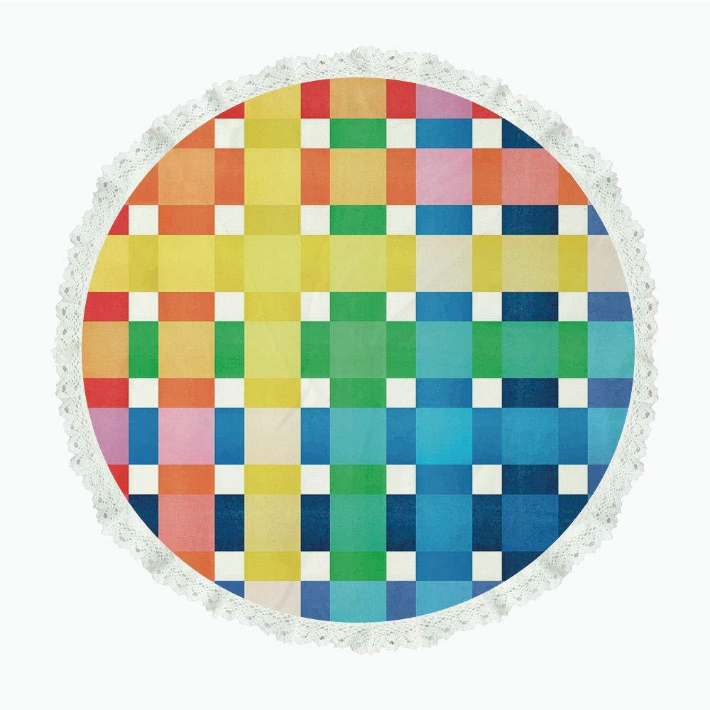 36インチ ラウンド ポリエステル リネン テーブルクロス チェック クロスワイズ ストライプ モザイクパターン 正方形 レトロスタイル フェミニンデザイン 装飾 ピンク ライトピンク ブラック ディナーキッチン ホームデコレーション Round 36