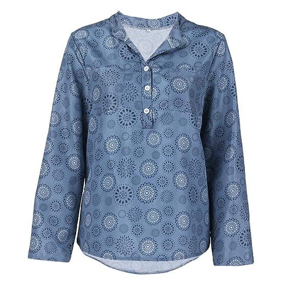 Bestow Camisa de Manga Larga con Estampado de Damas, Blusa con Botones en la Parte