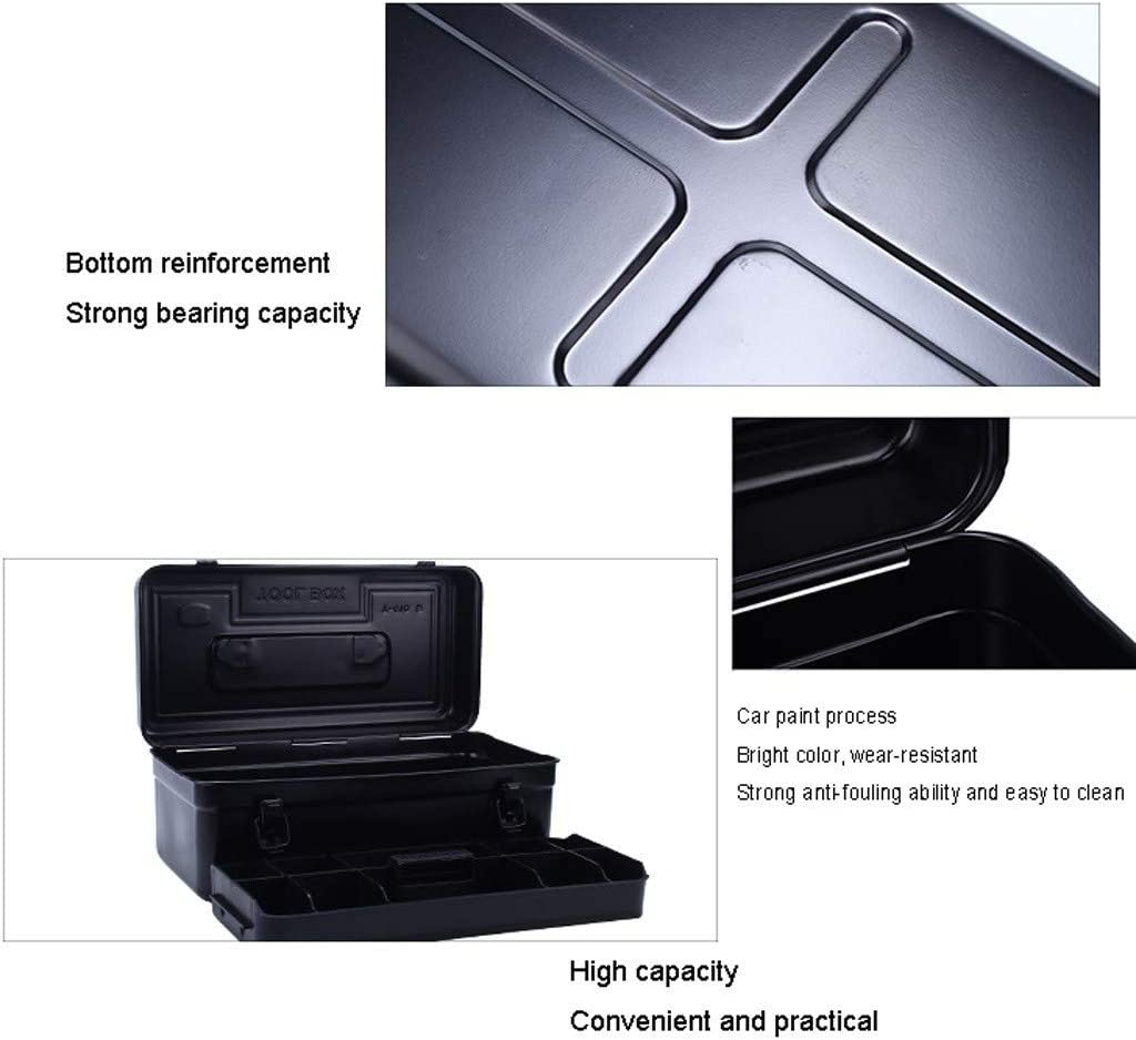 Toolbox Home Repair Multi-tool Box Plastic Double-layer Removable Tool Tray Portable Large-capacity Gadget Storage (Color : Double layer-b) Double Layer-a