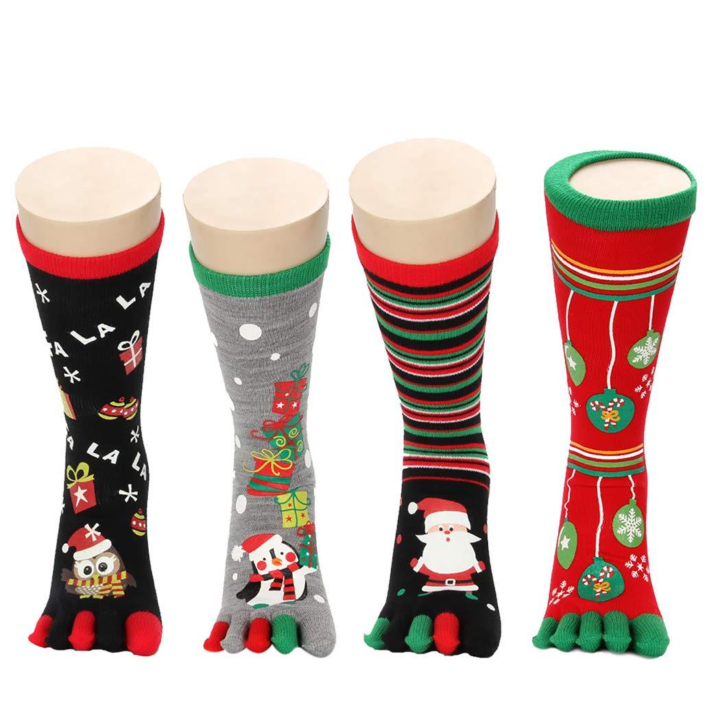Zoylink Christmas Socks Toe Socks Cartoon Print Crew Socks for Men Women