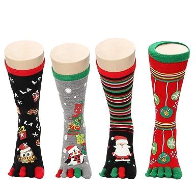 Zoylink Calcetines De Navidad Calcetines Del Dedo Del Pie Calcetines Con Estampado De Dibujos Animados Para Hombres Mujeres: Amazon.es: Ropa y accesorios