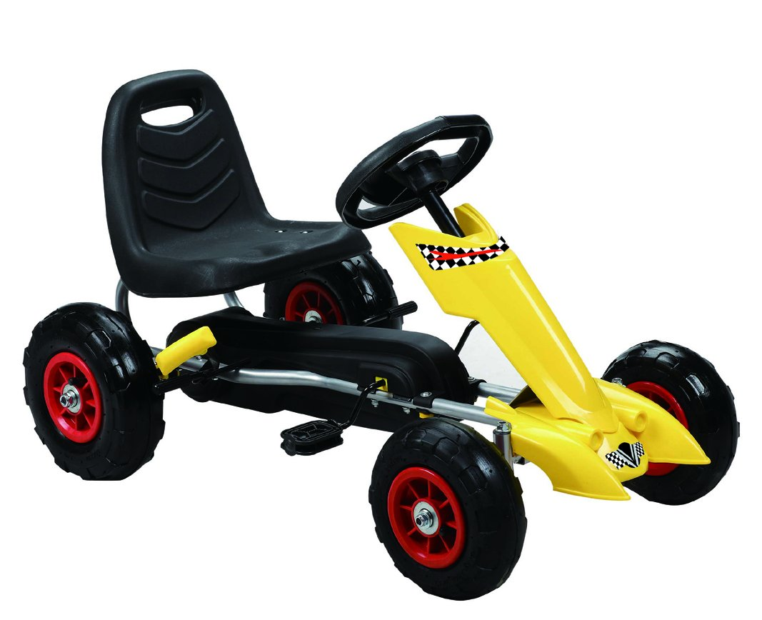 Vroom Rider Zoom Pedal Go-Kart Ride Ons with Pneumatic Tire, Yellow