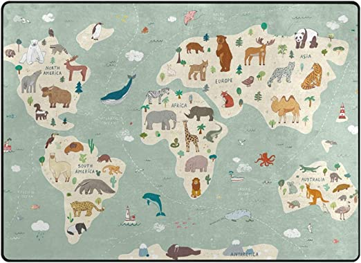 Vantaso Soft Foam Nursery Rugs World Map Animals Non Slip Play Mats for Kids Boys Girls Playing Room Living Room 63x48 inch