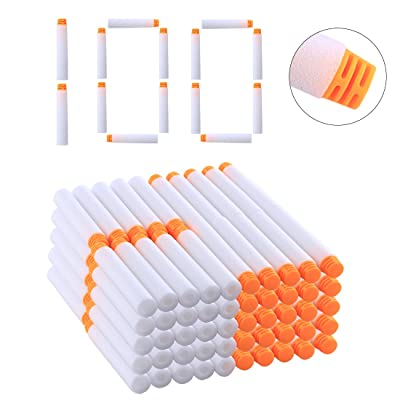 RAVPump Soft Darts 100 Pcs 2.83inch High Buffered Foam Bullets Orange Head Refill Darts for Nerf Blasters Kid Toy Gift (White): Toys & Games