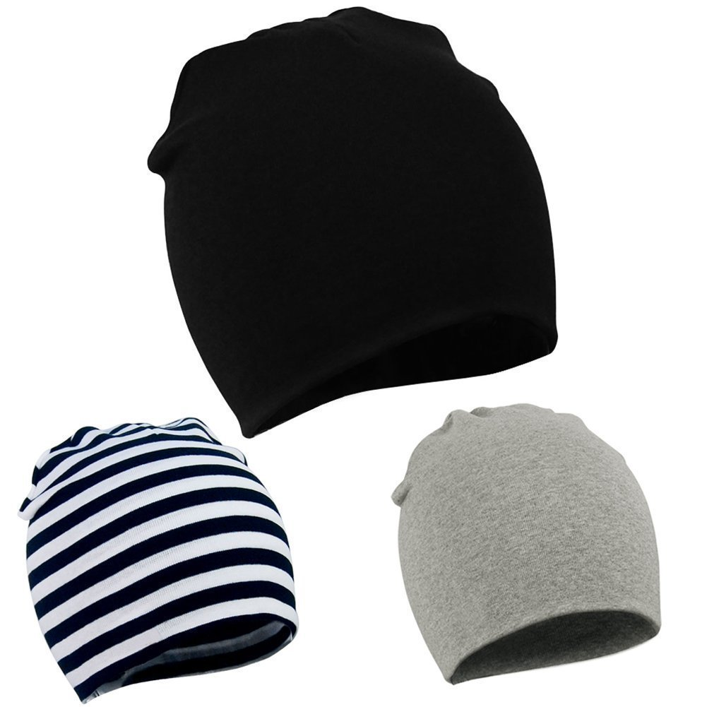 American Trends Toddler Infant Cotton Hat Unisex Knit Stretchy Baby Caps Casual Newborn Kids Lovely Soft Warm Beanies A 3 Pack-Black Stripe Grey Large (1-4 Years) by American Trends (Image #1)