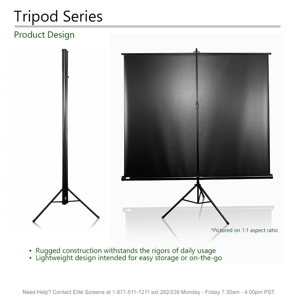 Elite Screens Tripod Series, 50-INCH 1:1, Adjustable Multi Aspect Ratio Portable Indoor Outdoor Projector Screen, 8K/4K Ultra HD 3D Ready, 2-YEAR WARRANTY, T50UWS1 by Elite Screens (Image #4)