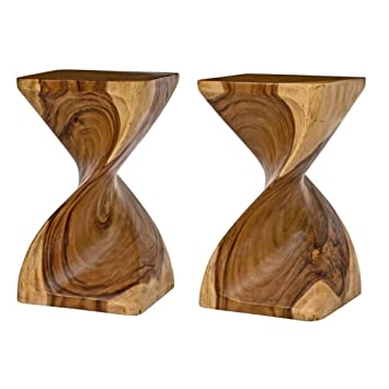 Surin Solid Monkey Pod Wood, Hand Carved, Twist Side Table   Natural