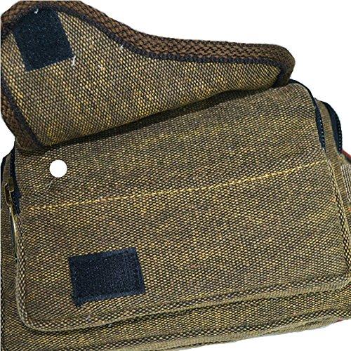 GSPStyle bolso de mano para Unisex de manga corta para hombre el pecho con forma de cruz y bolsa de lona deportivo ajustable en cintura y Camping cuerpo del marrón - marrón