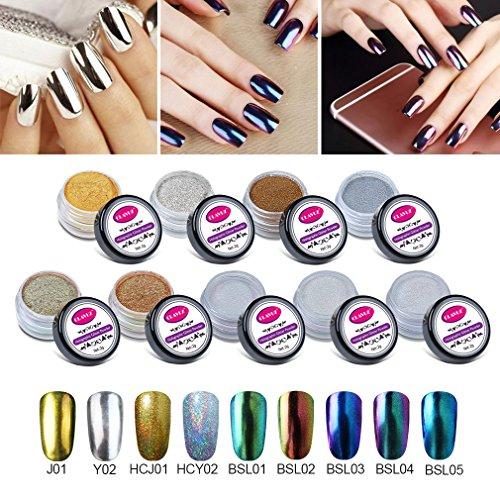 CLAVUZ 9pcs Chrome Powder Holo Mirror Effect Chameleon Color Changing Glitter Nail Powder Manicure Pigments with Free Sponge Stick Nail Art Tools Kit -