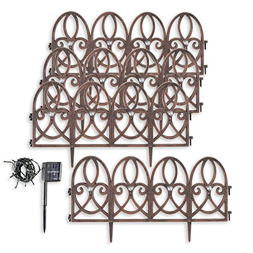 Collections Etc Elegant Faux Wrought Iron Scroll Plastic Garden Border With Solar Lights  Set Of 4