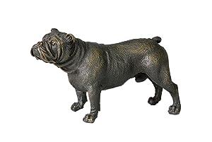 Toperkin Bulldog Statues Dog Bronze Sculptures Home Decor Small Figurines