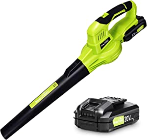 Leaf Blower - 20V Leaf Blower Cordless with Battery & Charger, Electric Leaf Blower for Lawn Care, Battery Powered Leaf Blower Cordless Lightweight for Snow Blowing (Battery & Charger Included)