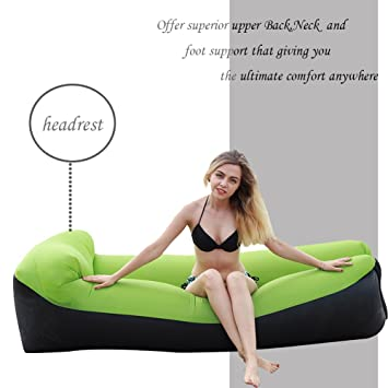 NewMum Sofa Hinchable-portátil Impermeable Durable Ligero poliéster sofá al Aire Libre Aire con Almohada para Camping, Playa, Parque, Patio (Verde)