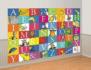 Amscan 670977 Alphabet Panel Scene Setters, Dr.Seuss Party | 3 ct