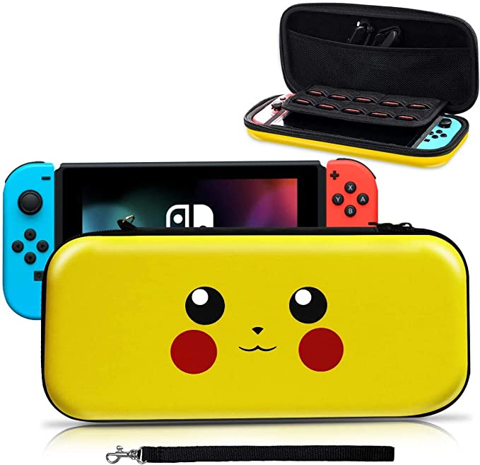 Haobuy Funda para Switch, [Diseño para Pikachu/Pokemon][Estuche Protector Portátil ] Funda de Viaje Transportar para Switch Accesorios- Amarillo: Amazon.es: Electrónica