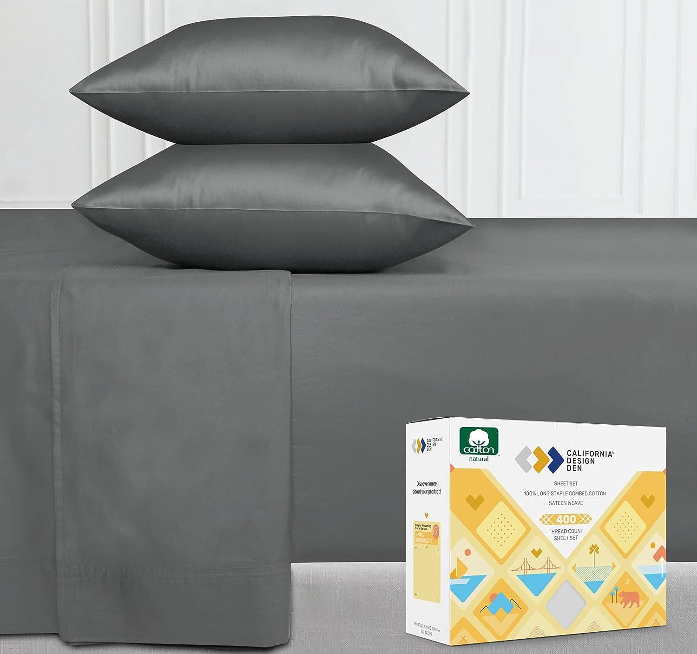 Twin Size Dark Grey Sheets - 400 Thread Count 100% Cotton Sheet Set - 3 Piece Set Long-Staple Combed Pure Natural Cotton Bedsheets, Fits Mattress 15'', Deep Pocket