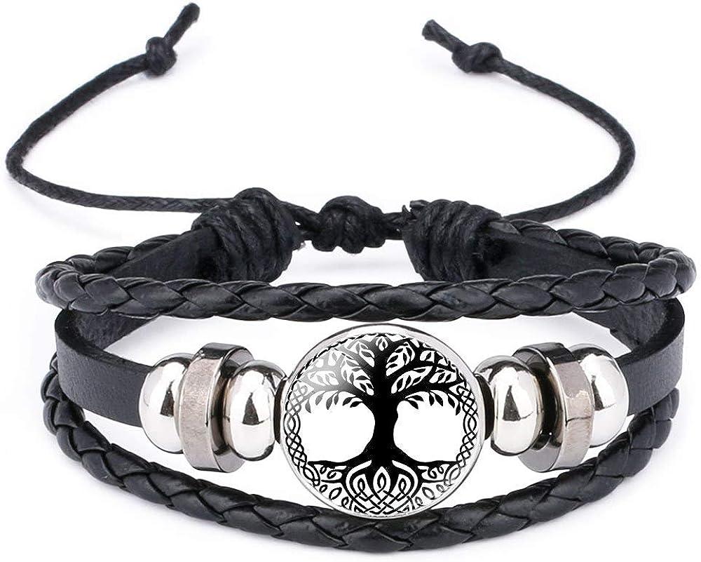 Linran Odin's Crow Raven Valknut Charm Leather Cords Braided Bracelet Handmade Viking Runes Amulet Ethinic Adjustable Bracelet Unisex