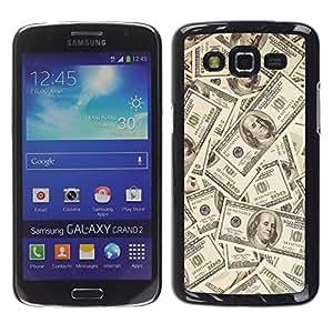 Qstar Arte & diseño plástico duro Fundas Cover Cubre Hard Case Cover para Samsung Galaxy Grand 2 II / SM-G7102 / SM-G7105 ( Money Dollar Wallpaper Wealth Symbol Usa)
