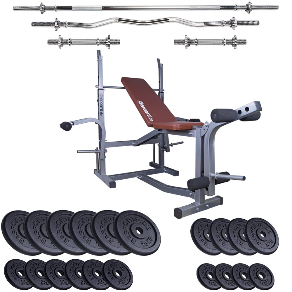 ScSPORTS Multi-Power-Station mit Hantelset Guss 100kg / Trainingsbank mit Arm- und Beincurl Multifunktional Plus Hantelset