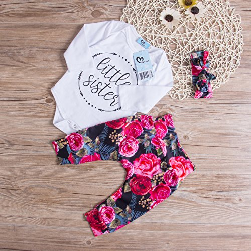 Baby Girls Little Sister Bodysuit Tops Floral Pants Bowknot Headband Outfits Set, White (0-6 Months) by Ma&Baby (Image #2)