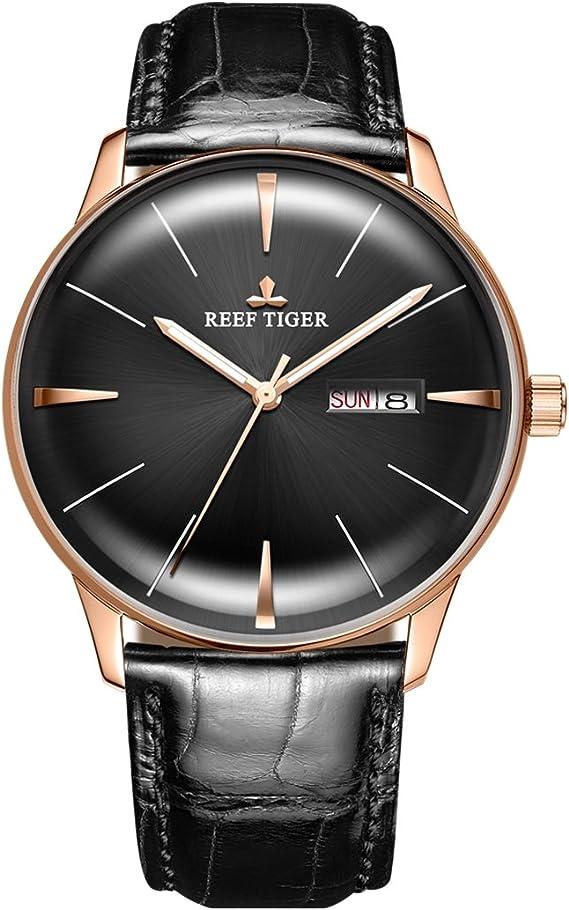 Amazon.com: Reef Tiger Lujo Relojes de Vestir Fecha Oro Rosa ...