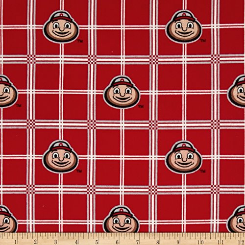 Fabrique Innovations, Collegiate Cotton Flannel Ohio State University Plaid Fabric by The Yard ()