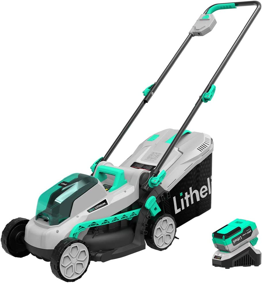 Litheli 20V Cordless 13 inches Brushless Lawn Mower, with 4Ah Battery and Charger, Electric Lawn Mower for Garden, Yard and Farm