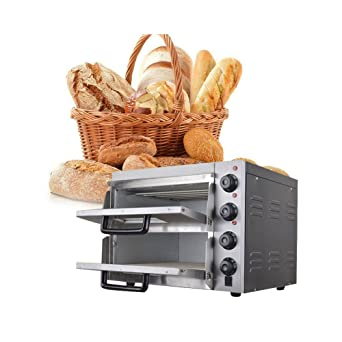 Enshey - Horno eléctrico doble para pizza o pan, para uso comercial, 220 V