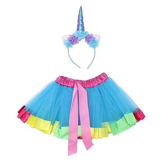 FENICAL Falda de Tutú Azul y Diadema de Unicornio para Disfraces ...