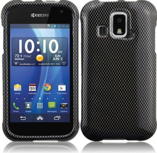 LF 4 Item Bundle - Designer Case Cover, Lf Stylus Pen, Screen Protector & Wiper for (US Cellular) Kyocera Hydro XTRM C6721 (Carbon Fiber)