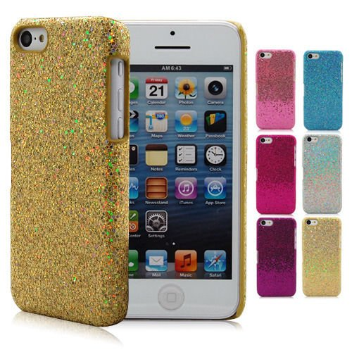 Tech Express (Tm) 1 Sky Blue & 1 Hot Pink Bling Glitter Sparkling Sequin Thin Textured Hard Case Cover for Apple iPhone 5 / 5s
