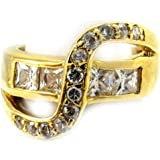 Ring plated gold 'Révérences' white.