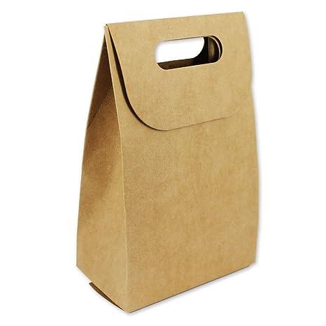 132127 - Set de 24 cajas con asa, de cartón kraft liso, 16x10x5,
