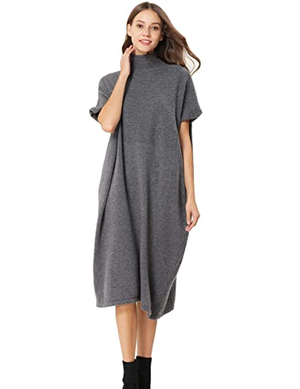 5f1035a2e9061 FINCATI Autumn Winter Dress Women 2018 Cashmere Wool Turtleneck Oversized  Smock (Free, Gray)