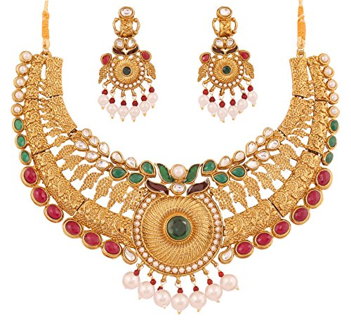 Touchstone Indian bollywood Kundan look red faux rubies/emeralds bridal jewelry (Kundan Bridal Jewelry)