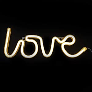 Sunnyglade USB Charging/Battery LED Neon Decorative Lights,Neon Sign Shaped Decor Light, Wall Decor for Christmas,Birthday Party, Kids Room, Living Room, Wedding Party Decor (Love)