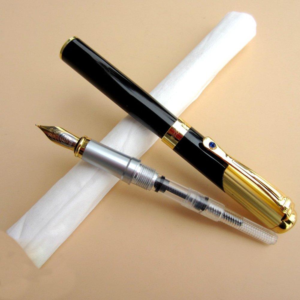 Penna stilografica, pennino fine eroe 91 liscio penna con inchiostro refill convertitore Executive writing Signature calligrafia penne set universale per cartuccia FAVOLOOK UK20180125002
